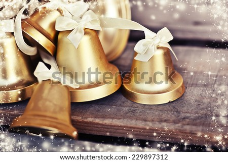 Christmas background with pine cones, Christmas decoration on a wooden table background with copy space, Grunge style, - stock photo