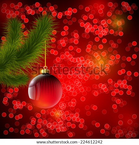 Christmas background with red ball and Christmas tree - stock photo