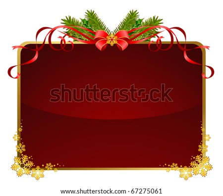 christmas background with red bow - stock photo