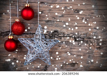 Christmas Background with red Christmas Balls and a Silver Christmas Star and Snowflakes - stock photo