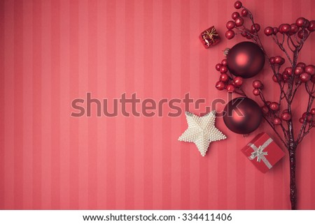 Christmas background with red decorations and ornaments. View from above with copy space - stock photo