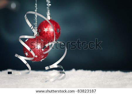 christmas background with red twinkling christmas balls - stock photo