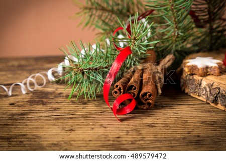 Christmas background with ribbon and fir branch, empty space for text