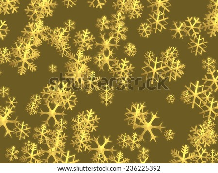 Christmas background with shiny golden snowflakes - illustration - stock photo