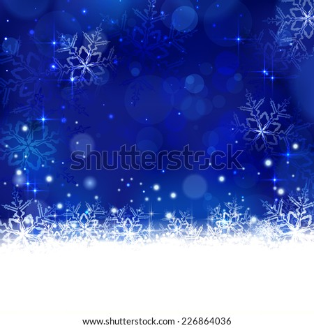 Christmas background with shiny light effects, blurry lights, and glittering snowflakes in shades of blue. Great for the any winter design and festive season of Christmas to come. - stock photo