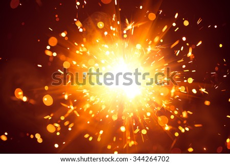 Christmas background with shiny sparkler light - stock photo