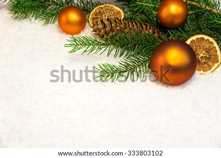 christmas background with snow and copper balls - stock photo