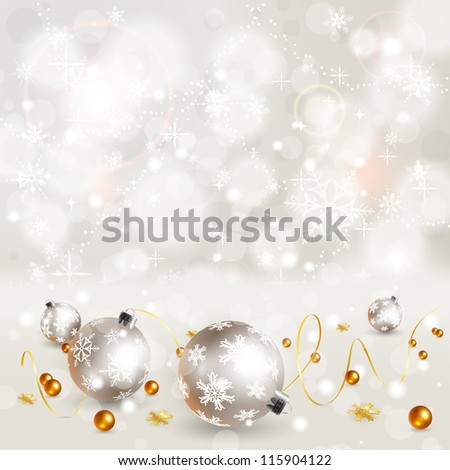 Christmas Background with Snowflakes and Bauble, element for design, illustration - stock photo