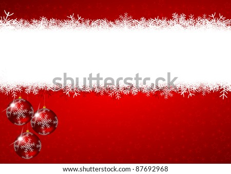 christmas background with snowflakes and christmas balls - stock photo