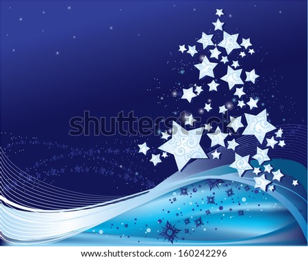 Christmas background with snowflakes and stars. - stock photo