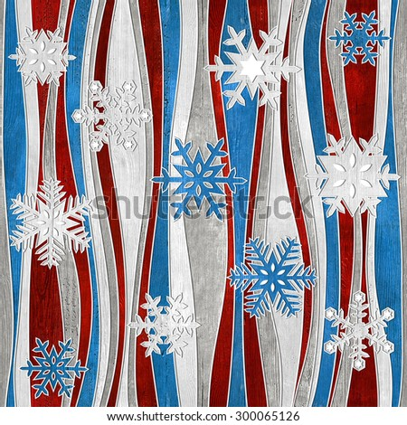 Christmas background with snowflakes - seamless background - wood texture - stock photo