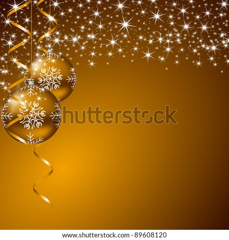 christmas background with stars and christmas balls - stock photo