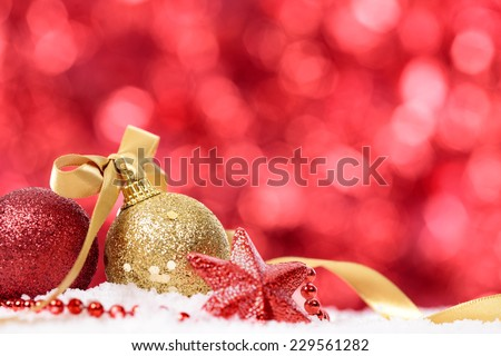 Christmas background with traditional decorations and copy space - stock photo