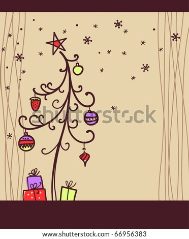 Christmas background with tree and toys