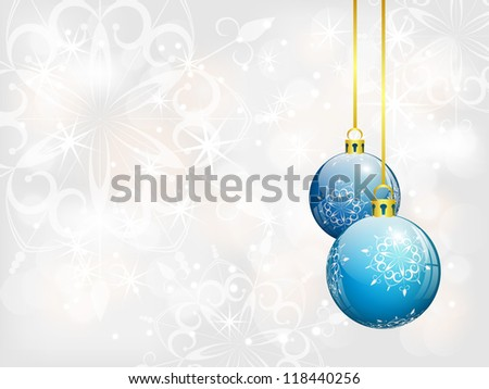 christmas background with two blue balls, bitmap copy