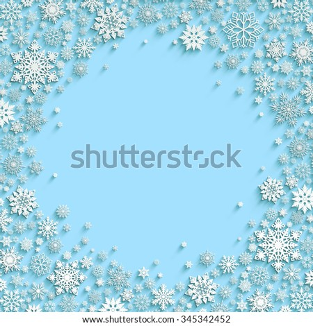 Christmas background with white paper snowflakes and space for text in the blue background. Winter Template for Merry Christmas and Happy New Year Card. Banner.  - stock photo