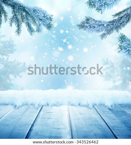 christmas background with wooden  table - stock photo