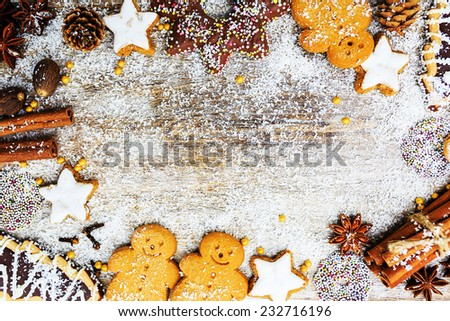 Christmas baking and christmas spices, copy space - stock photo