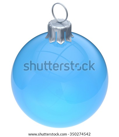 Christmas ball adornment blue glass empty New Year's Eve ornament translucent bauble clear blank decoration shiny. Happy Merry Xmas traditional wintertime celebration symbol. 3d render isolated - stock photo