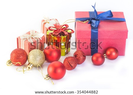 Christmas ball and decoration on white background - stock photo