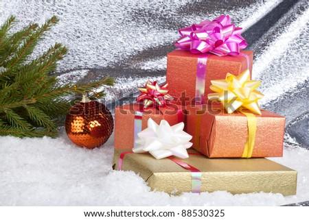Christmas ball and gift box - stock photo