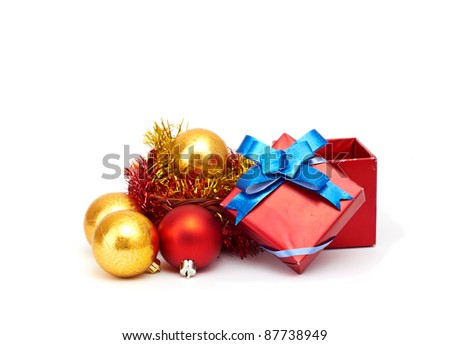 Christmas ball and gift box, shallow depth of field