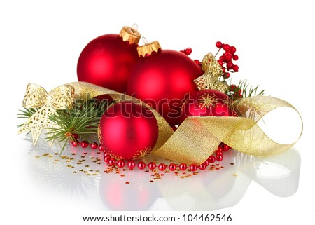 Christmas ball and green tree on white background - stock photo