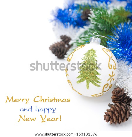 Christmas ball and tinsel isolated on white background - stock photo