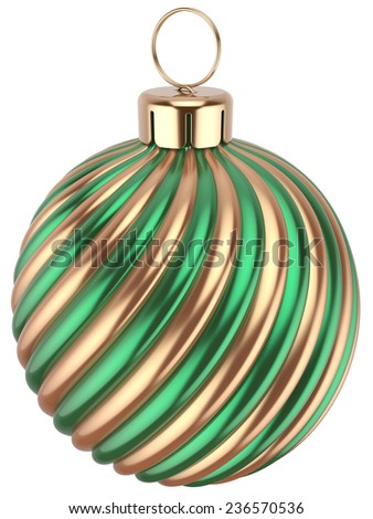 Christmas ball bauble New Years Eve decoration green gold sphere icon. Beautiful shiny Merry Xmas winter symbol classic. 3d render isolated on white background - stock photo