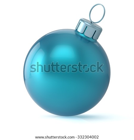 Christmas ball cyan blue New Year's Eve bauble wintertime decoration glossy hanging adornment classic. Traditional winter ornament happy holidays Merry Xmas symbol blank round. 3d render isolated - stock photo