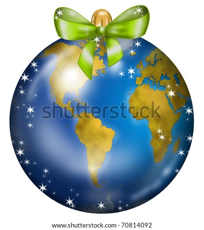 Christmas ball decorated like a globe: America and Africa - stock photo