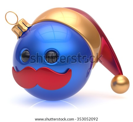 Christmas ball emoticon New Year's Eve bauble Santa Claus hat cartoon mustache joyful face adornment decoration cute blue. Happy Merry Xmas cheerful person laughing funny character avatar. 3d render