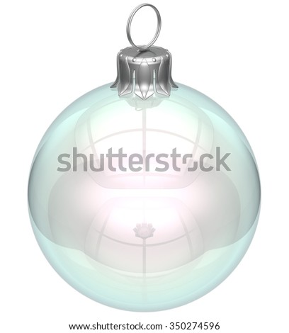 Christmas ball empty glass adornment bauble clear blank New Year's Eve ornament translucent decoration shiny polished. Happy Merry Xmas traditional wintertime celebration symbol. 3d render isolated - stock photo