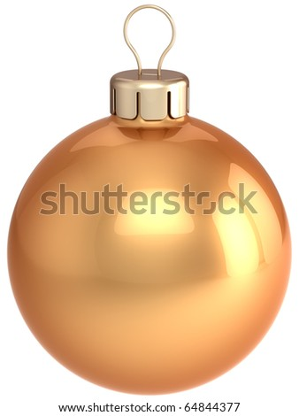 Christmas ball gold ornament New Years Eve golden bauble luxury. Wintertime Merry Xmas decoration classic blank. 3d render isolated on white background - stock photo