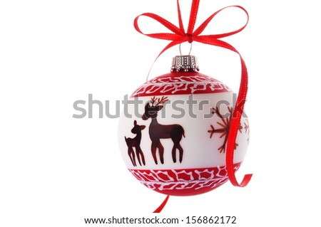 christmas ball hanging in front of an abstract background - stock photo