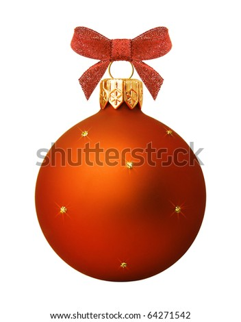Christmas ball hanging with ribbon on white background