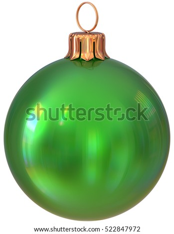 Christmas ball New Year's Eve bauble green decoration shiny wintertime hanging adornment sphere souvenir. Traditional ornament happy winter holidays Merry Xmas symbol closeup. 3d illustration isolated