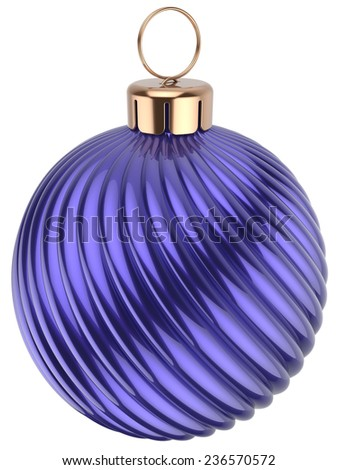 Christmas ball New Years Eve bauble decoration blue purple wintertime ornament icon traditional. Shiny Merry Xmas winter holidays symbol classic. 3d render isolated on white background - stock photo