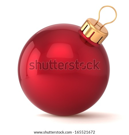 Christmas ball New Years Eve bauble decoration red wintertime ornament icon traditional. Shiny Merry Xmas winter holidays symbol classic blank. 3d render isolated on white background - stock photo