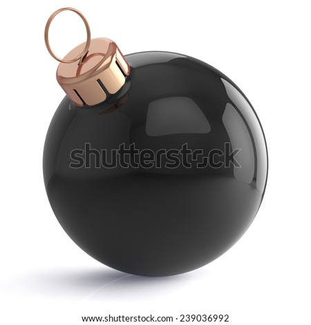 Christmas ball New Years Eve ornament decoration black wintertime bauble icon traditional. Shiny Merry Xmas winter holidays symbol blank. 3d render isolated on white background - stock photo
