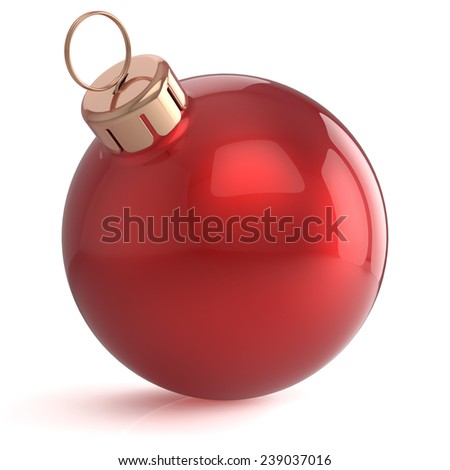 Christmas ball New Years Eve ornament decoration red bright wintertime bauble icon traditional. Shiny Merry Xmas winter holidays symbol blank. 3d render isolated on white background - stock photo