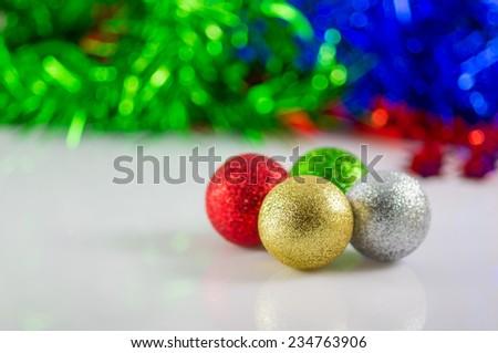Christmas ball on a blur background, christmas balls - stock photo