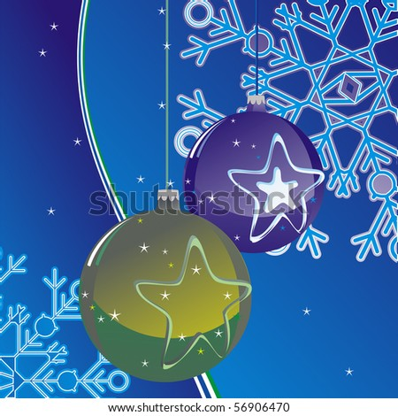 christmas ball on abstract background with snowflake