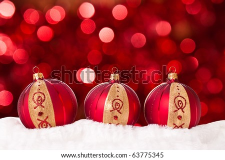 Christmas ball on abstract light background - stock photo