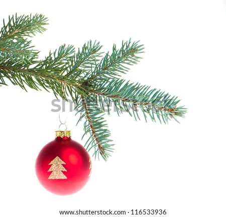 christmas ball on branch isolated on white background - stock photo