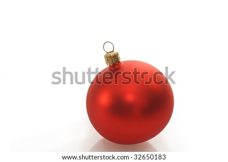 Christmas ball on bright background. Shot in studio.