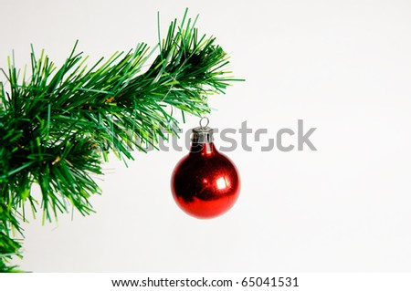 Christmas ball on green christmas tree isolated on white background