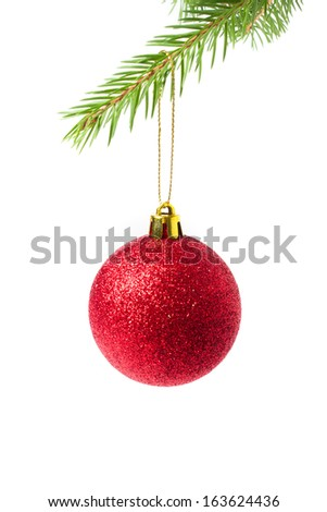 christmas ball on green spruce branch - isolated - stock photo