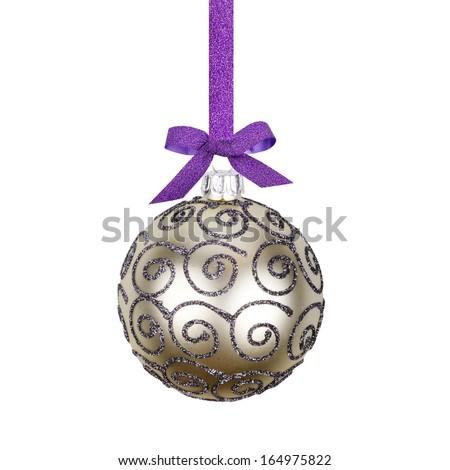 christmas ball on white background - stock photo