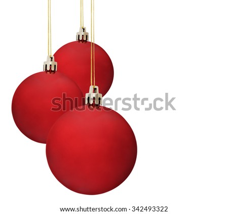 Christmas ball on white background, isolated, red